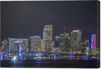 Panorámica del centro financiero de Miami en la noche Canvas Print