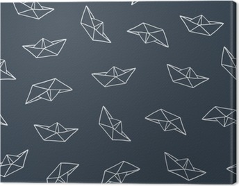 Paper boat seamless pattern Canvas Print