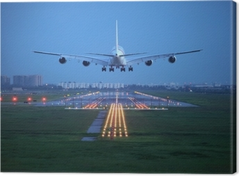passenger plane fly up over take-off runway from airport Canvas Print