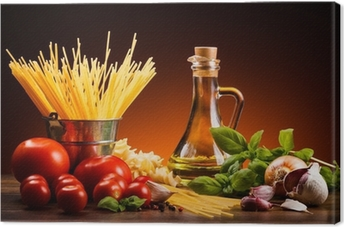 Pasta and fresh vegetables Canvas Print