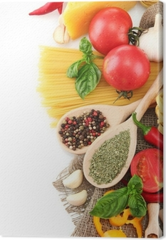 Pasta spaghetti, vegetables and spices, isolated on white Canvas Print