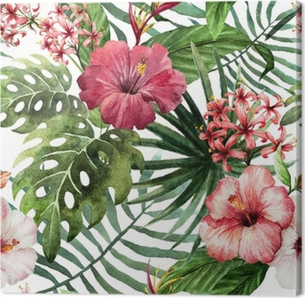 pattern orchid hibiscus leaves watercolor tropics Canvas Print