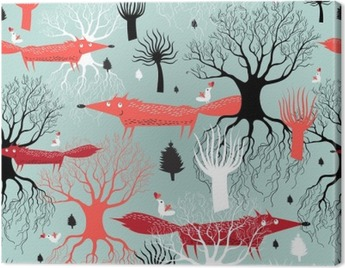 pattern trees and foxes Canvas Print