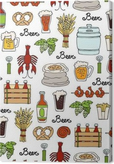 Pattern with hand drawn colored bottle and glass of beer, snacks in sketch style. Pattern on the theme of beer Canvas Print