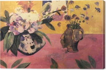 Paul Gauguin - Flowers and a Japanese Print Canvas Print