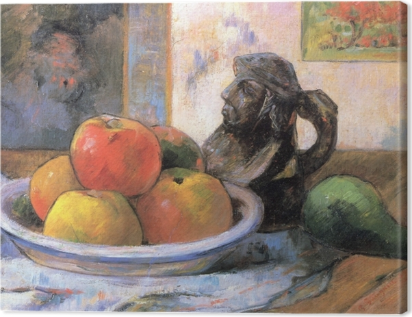 Paul Gauguin - Still LIfe with Apple, a Pear and a Ceramic Portrait Jug Canvas Print - Reproductions