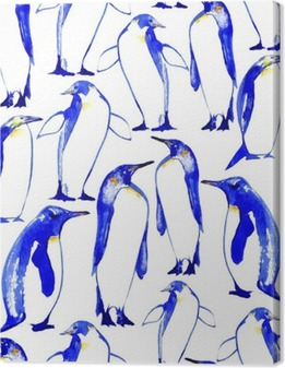 Penguins seamless pattern.Watercolor hand drawn illustration. Canvas Print