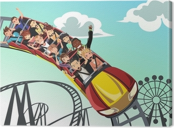 People riding roller coaster Canvas Print