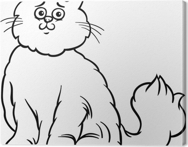 persian cat cartoon coloring page canvas print