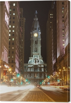 Philadelphia streets by night Canvas Print