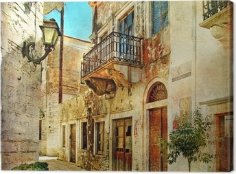 pictorial old streets of Greece Canvas Print