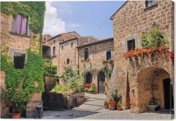 Picturesque corner of a quaint hill town in Italy Canvas Print