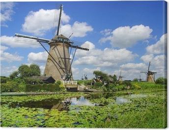 Picturesque landscape with windmills. Kinderdijk Canvas Print
