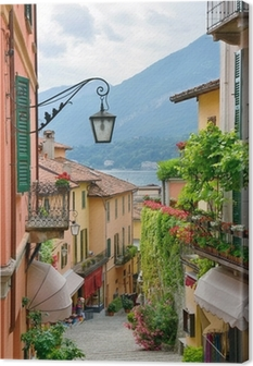 Picturesque small town street view in Lake Como Italy Canvas Print
