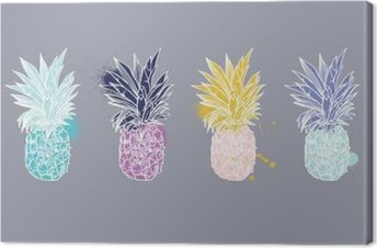 Pineapple tropical fruit. Vector object. Canvas Print