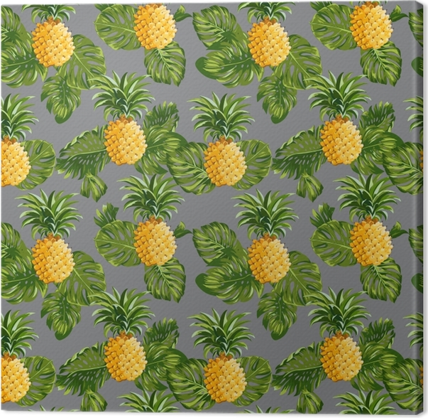 Pineapples and Tropical Leaves Background Canvas Print - Pineapple Fever