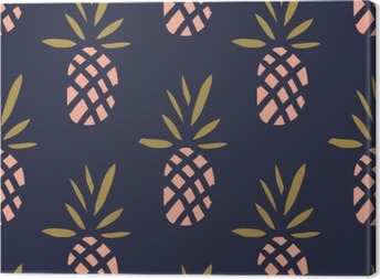 Pineapples on the dark background. Vector seamless pattern with tropical fruit. Canvas Print