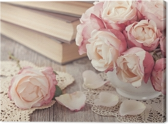 Pink roses and old books Canvas Print