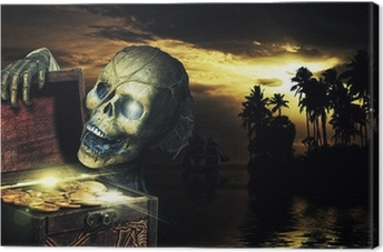 Pirate opening a chest full of gold coins Canvas Print