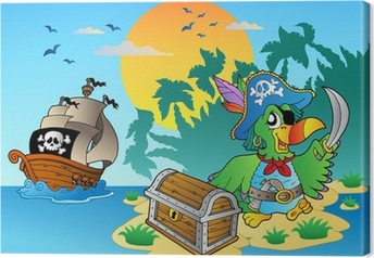 Pirate parrot and chest on island Canvas Print