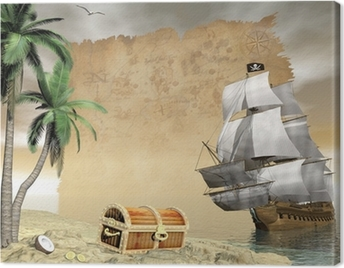 Pirate ship finding treasure - 3D render Canvas Print