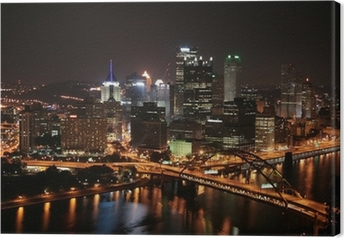 Pittsburgh's skyline from Mount Washington at night. Canvas Print