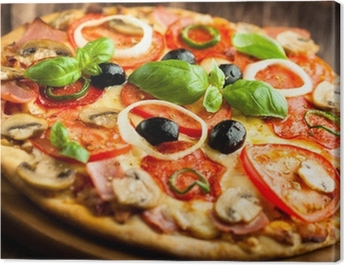 Pizza with Mushrooms, Salami and Chili Pepper Canvas Print