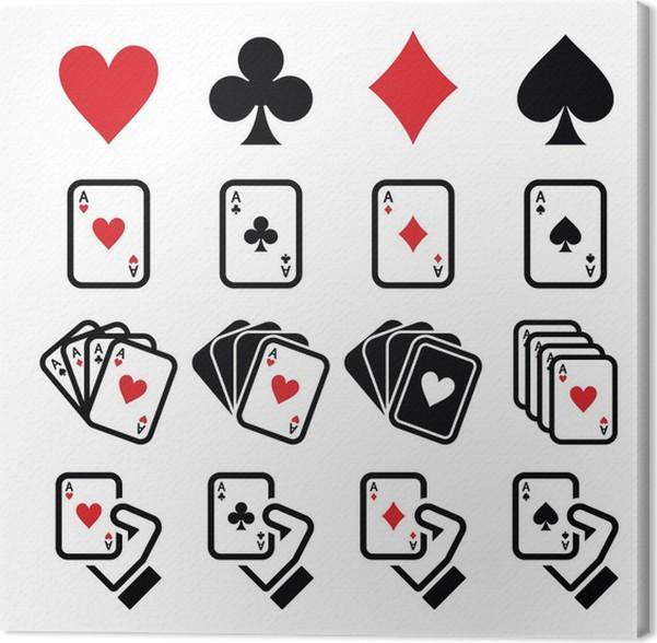 Playing Cards Poker Gambling Icons Set Canvas Print Pixers We