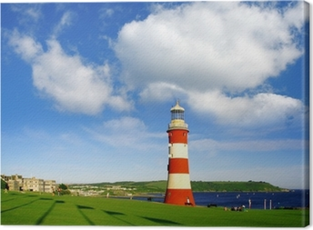 Plymouth lighthouse with sea-view in Devon, England Canvas Print