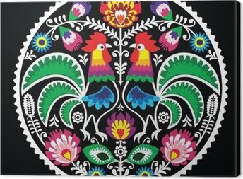 Polish floral embroidery with roosters - traditional folk Canvas Print