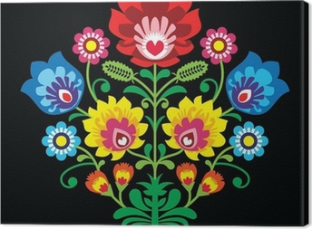 Polish folk embroidery with flowers - traditional pattern Canvas Print