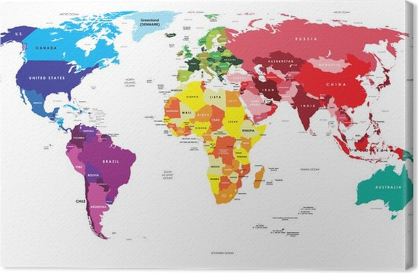 Political Map of the World Canvas Print • Pixers® • We live to change