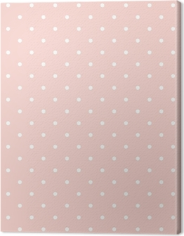 Polka dots on baby pink background seamless vector pattern Canvas Print