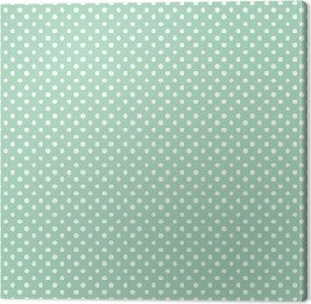 Polka dots on fresh mint background seamless vector pattern Canvas Print