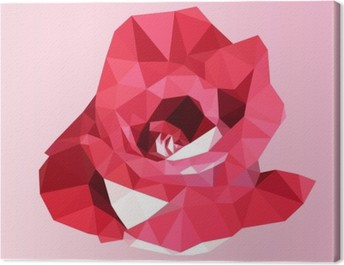 polygonal red rose. poly low geometric triangle flower vector Canvas Print
