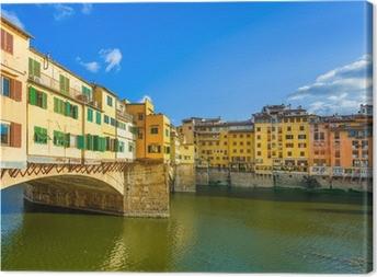 Ponte Vecchio on sunset, old bridge, Florence. Tuscany, Italy. Canvas Print