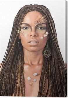 Portrait of an african american woman with dreadlocks Canvas Print