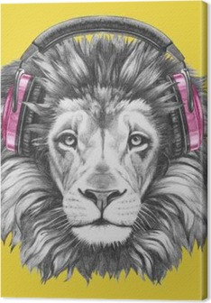 Portrait of Lion with headphones. Hand drawn illustration. Canvas Print