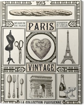 Poster Paris Vintage Canvas Print