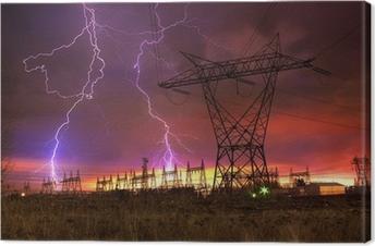 Power Distribution Station with Lightning Strike. Canvas Print