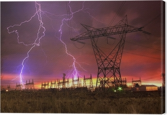 Power Distribution Station with Lightning Strike. Canvas Print
