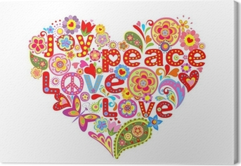 Print with colorful hippie floral heart Canvas Print