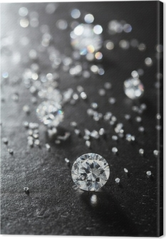 putting diamonds on the surface of the stone closeup. Canvas Print