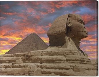 Pyramid and Sphinx at Giza, Cairo Canvas Print
