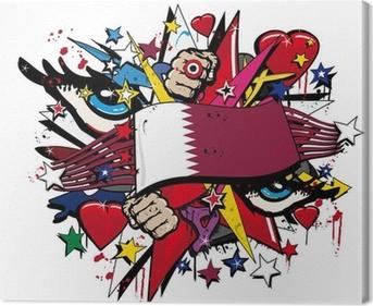 Qatar Flag Emirates graffiti pop street art illustration