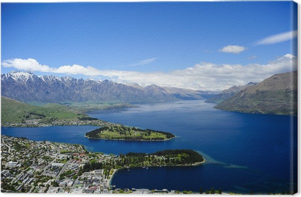 Queenstown and lake wakatipu canvas print