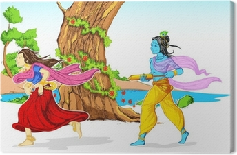 Radha Krishna Playing Holi Canvas Print