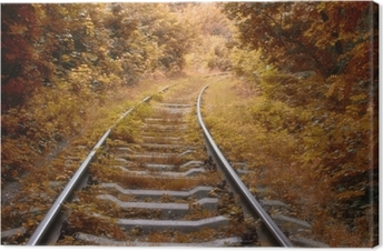 Railway track in autumn Canvas Print
