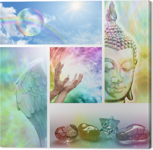 rainbow healing collage canvas print pixers we live to change