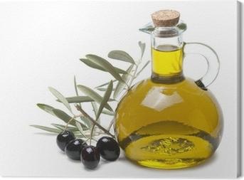 Rama de olivo con aceitunas negras y aceite de oliva. Canvas Print